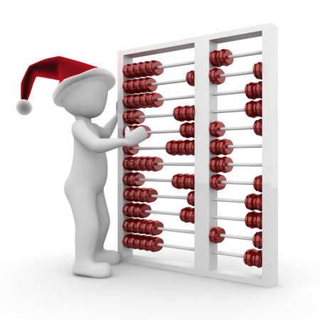christmas profits: A character calculates the cost of Christmas this year. Stock Photo
