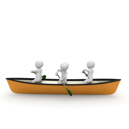 3d boat: Three characters rowing together on a river in a canoe. Stock Photo