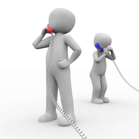 Two characters make calls with one blue and one red phone.