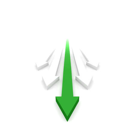 right path: The green arrow shows the right path to a long adventure success  Stock Photo