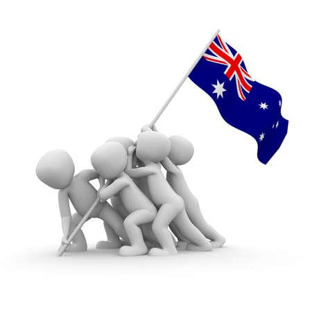 hijsen: De personages willen de Australische vlag samen te hijsen.