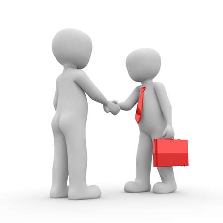 watertight: The two characters have completed a watertight contract. Stock Photo