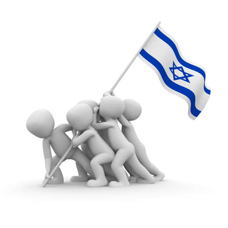 The characters want to hoist the Israeli flag together. photo