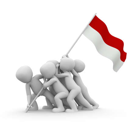 the indonesian flag: The characters want to hoist the Indonesian flag together.