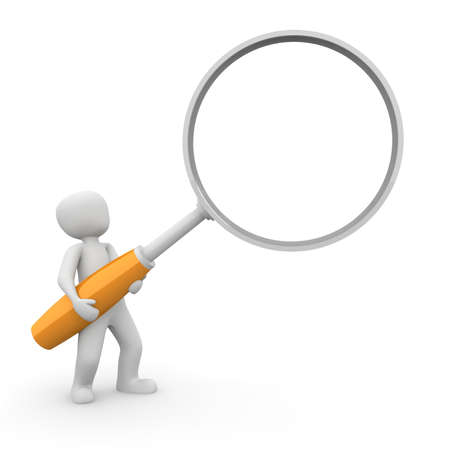 The character has a giant magnifying glass in hands to enlarge slightly. Stock Photo