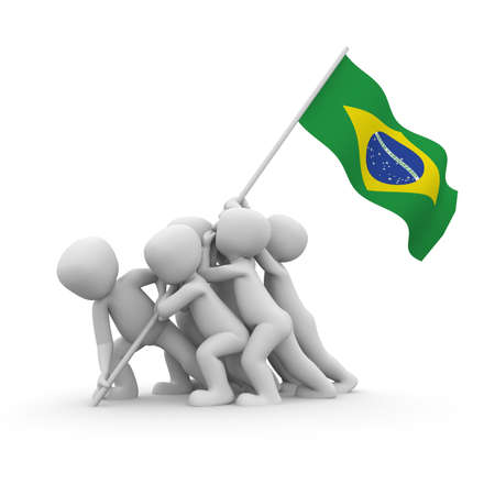 The characters want to hoist the Brazilian flag together. photo