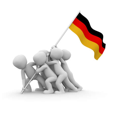 The characters want to hoist the German flag together. photo