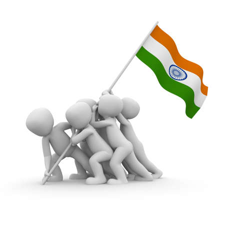 The characters want to hoist the Indian flag together. photo