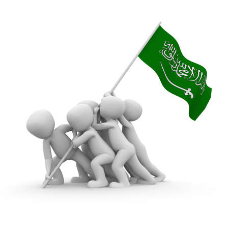 The characters want to hoist the Saudi Arabian flag together. photo