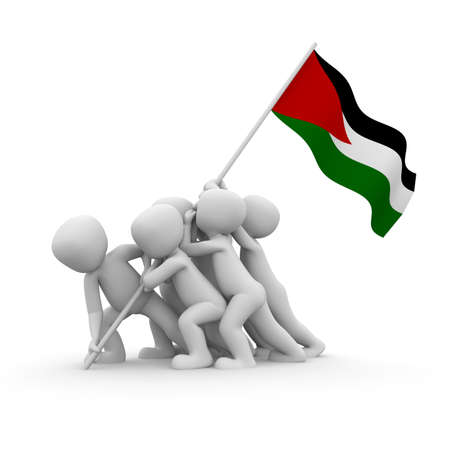 The characters want to hoist the Palestinian  flag together. Stock Photo