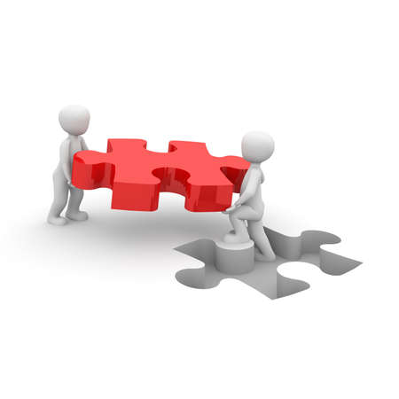 enterprising: The two characters wear a big red puzzle piece.