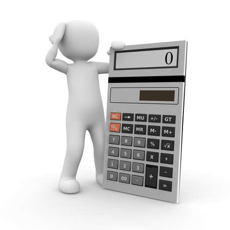 subtract: A character expects a difficult task with a calculator.