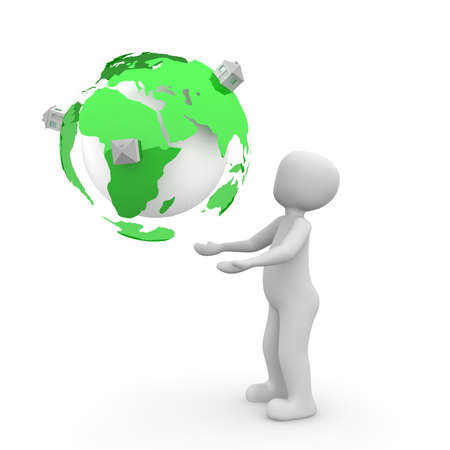 enclosures: The green color globe is covered with small enclosures. Stock Photo