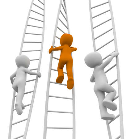 The orange character is faster than the white characters in the climb. Stock Photo