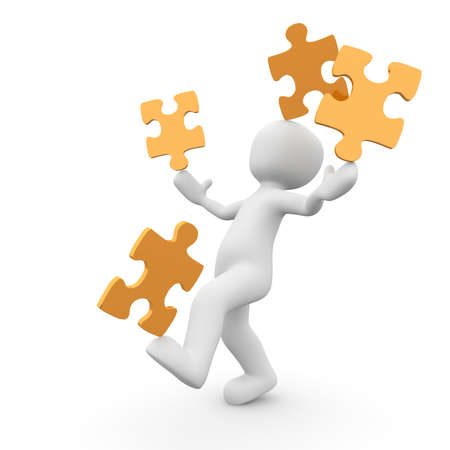 simultaneously: A character balances the puzzle pieces on hands, foot and head simultaneously.