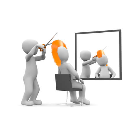 The barber cuts the customer an orange Iroquois. photo