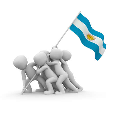 argentina flag: The characters want to hoist the Argentinean flag together.
