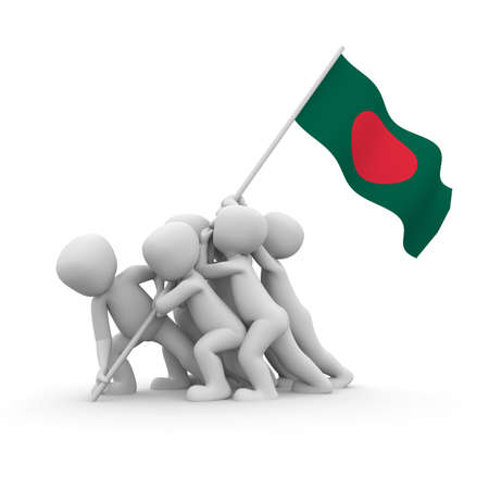 bangladesh: The characters want to hoist the Bangladeshi flag together. Stock Photo