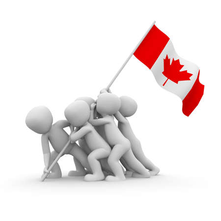 The characters want to hoist the Canadian flag together. photo