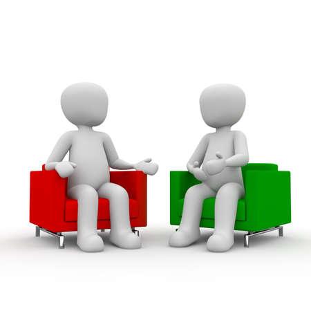 dialogo: Dos personajes est�n hablando en la sala de los personajes de la derecha. Foto de archivo