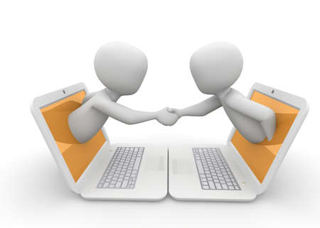 contracting: The two characters have agreed a deal together.