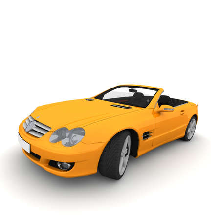 The orange car is a Cabrio because it has no roof. photo