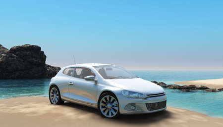 The new car has been parked at the sea on the beach.
