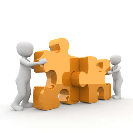 The two characters move two large puzzle pieces together. Stock Photo