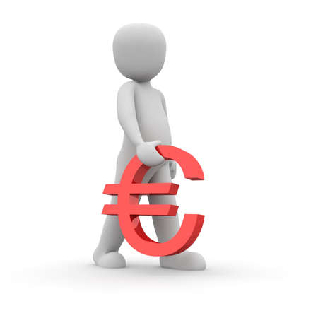 The character carry a red euro sign in his hand. Stock Photo