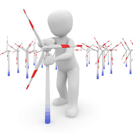 energy use: The character builds a windmill field to environmentally friendly energy use. Stock Photo