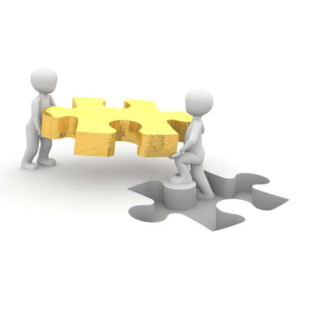 Les personnages portent une pièce de puzzle à l'écart approprié. Banque d'images - 20497603