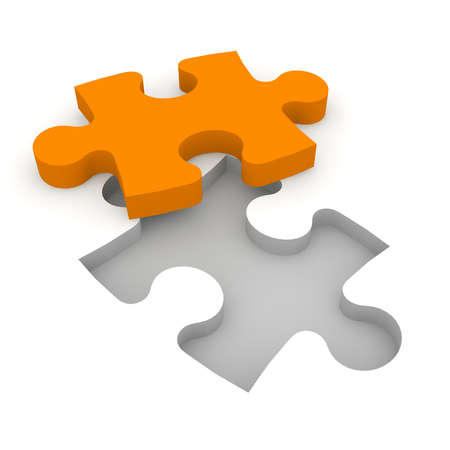 enterprising: The characters carry a puzzle piece to the appropriate gap.