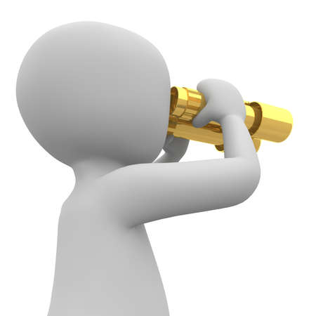 foresight: The golden binoculars as observers and vision device.