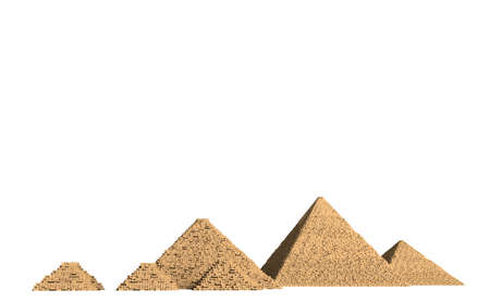 The Pyramids of Giza in Egypt are among the best known and oldest preserved buildings of mankind. Stock Photo