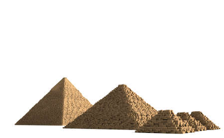 best known: The Pyramids of Giza in Egypt are among the best known and oldest preserved buildings of mankind. Stock Photo