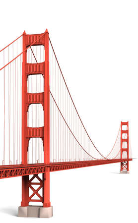 The golden gate bridge is the longest suspension bridge in the world. Stock Photo