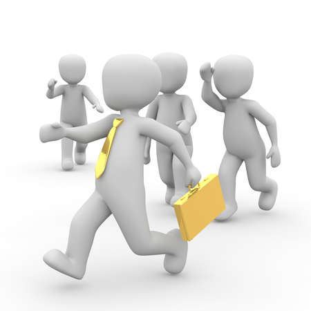 fleeing: Fleeing the success of many people pursue a Businessman