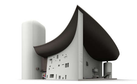haut: Notre Dame du Haut in France is an abstract Catholic Church. Stock Photo