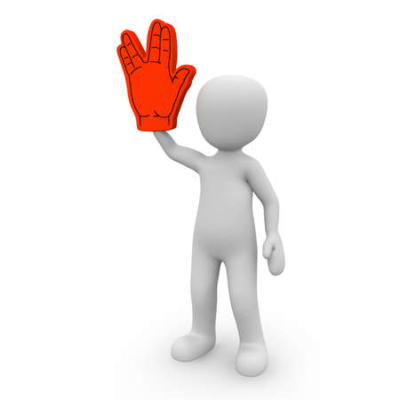 commemorate: The character celebrates a fixed with a foam hand.