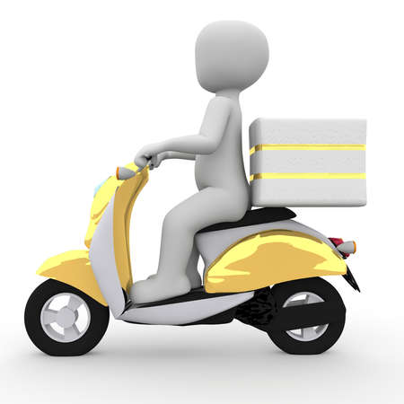 consign: The postman brings the mail with a golden moped.