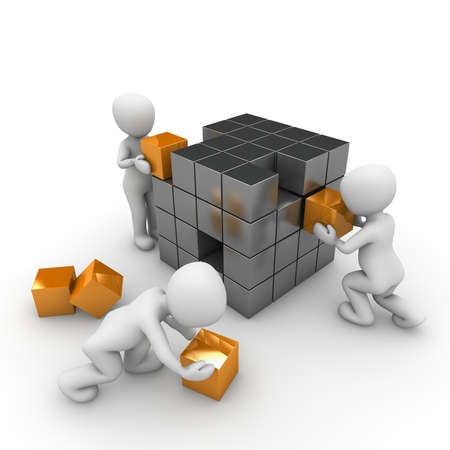 Several characters build a large cube made of small cubes.