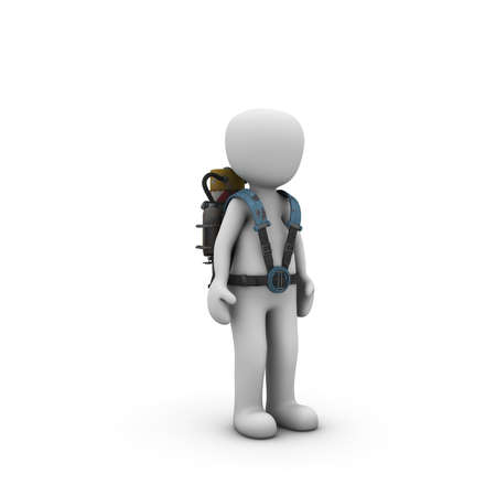 jetpack: The character flies away with a jetpack. Stock Photo