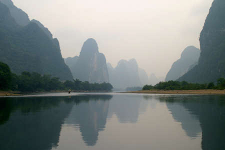 karst: Beautiful Yu Long river Karst mountain landscape in Yangshuo Guilin China
