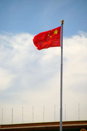 people's cultural palace: tiananmen in beijing in china in summer 6 flag of china