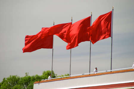 people's cultural palace: tiananmen in beijing in china in summer 5 flag of china Stock Photo