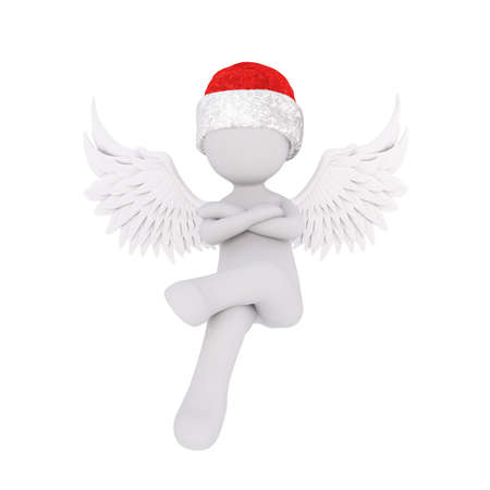 arms folded: Little 3D character in santa hat Stock Photo