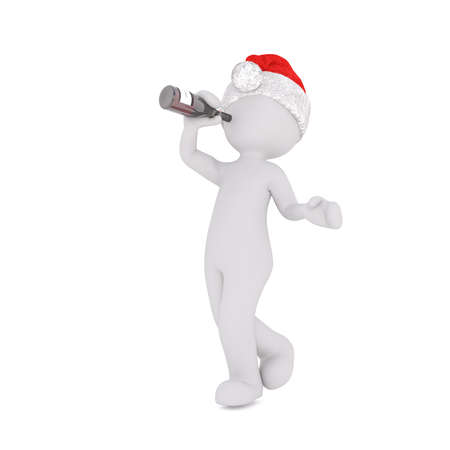 inebriated: Little 3D character in santa hat Stock Photo