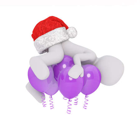 modell: Little 3D character in santa hat Stock Photo