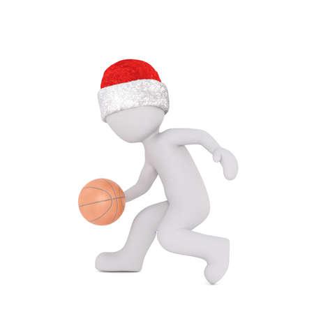 spiel: Little 3D character in santa hat Stock Photo
