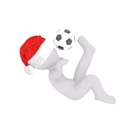Single 3D figure with Santa hat play soccer Stock Photo
